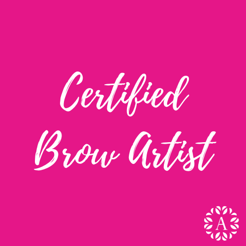 Pink Course Title Page for Certified Brow Artist Course at Ambitions
